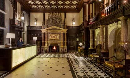 reception and fireplace crewe hall